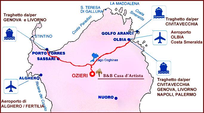 Cartina Sardegna Golfo Aranci.Bed And Breakfast Casa D Artista Ozieri Sardegna